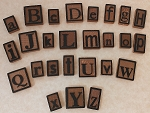 Letter press alphabet--wood tiles--you pick letters