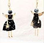 Necklace-Lovely Ladies --Black Dress gold fun