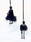 Necklace-Lovely Ladies --Black Fluffy Dresses