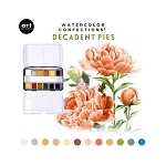 Watercolor Confections-  Decadent Pies  + 2 brushes