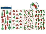 Sticker Holiday Puffy Glitter Hats/Candy Canes/Trees/Stockings