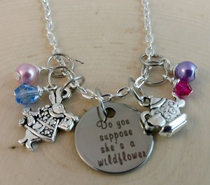 Disney inspired necklace  **Alice in Wonderland-Do you suppose she's a wildflower?**