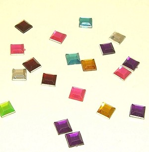 Square Rhinestones-Assorted colors 6mmx6mm