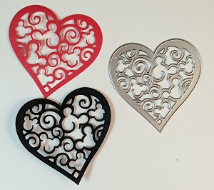 Scrapbooking die-Heart with Mouse Heads