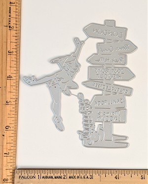 Scrapbooking Die-Flying Man with Directional Signs